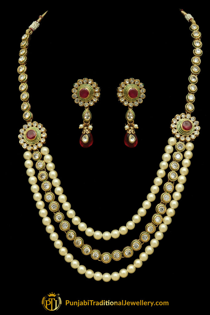 Red Polki Pearl Necklace Set By Punjabi Traditional Jewellery