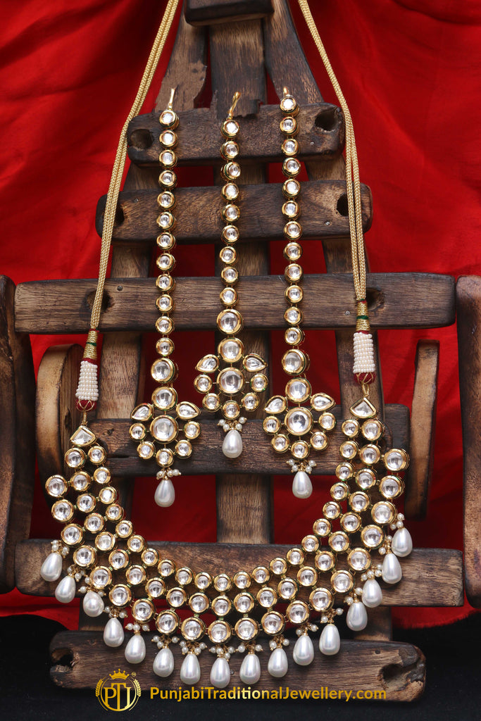 Pearl With Kundan Necklace Set With Sahare Earrings By Punjabi Traditional Jewellery