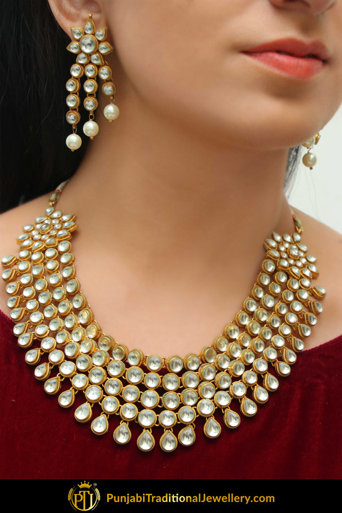 Haajar Gold Finished Kundan Necklace Set | Punjabi Traditional Jewellery Exclusive