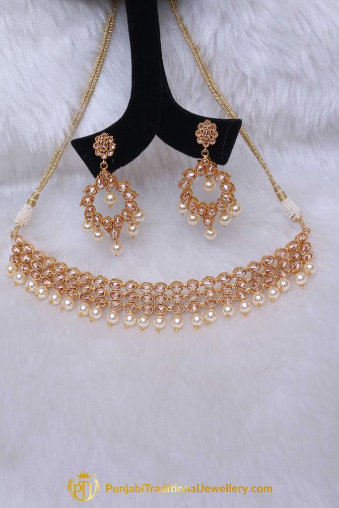 Pearl Champagne Stone Necklace Set By Punjabi Taditional Jewellery