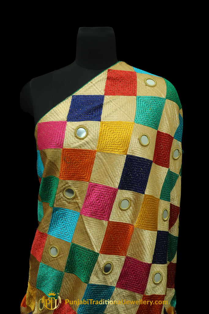 Pure Phulkari Dupatta With Multi Color By Punjabi Traditional Jewellery