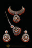 Orange Kundan Necklace Set By Punjabi Traditional Jewellery