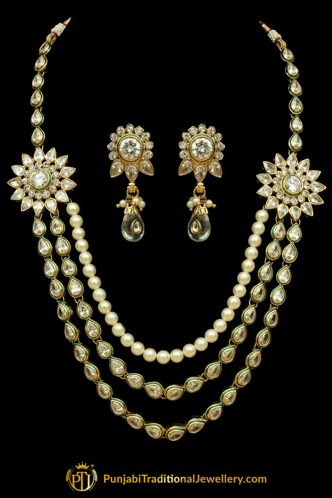 Polki Pearl Necklace Set By Punjabi Traditional Jewellery