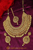 kluged Pearl Champagne Stone Necklace Set By Punjabi Taditional Jewellery