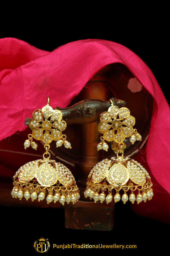 Golden Jadau & Jhumki Earrings By Punjabi Traditional Jewellery