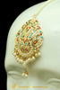 Gold Finished Navratan Jadau Earring Tikka Set By Punjabi Traditional Jewellery