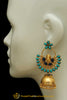 Gold Finished Firoza & Blue Color Jhumki Earrings By Punjabi Traditional Jewellery