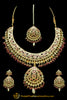 Red Kundan Jadau Necklace Set By Punjabi Traditional Jewellery