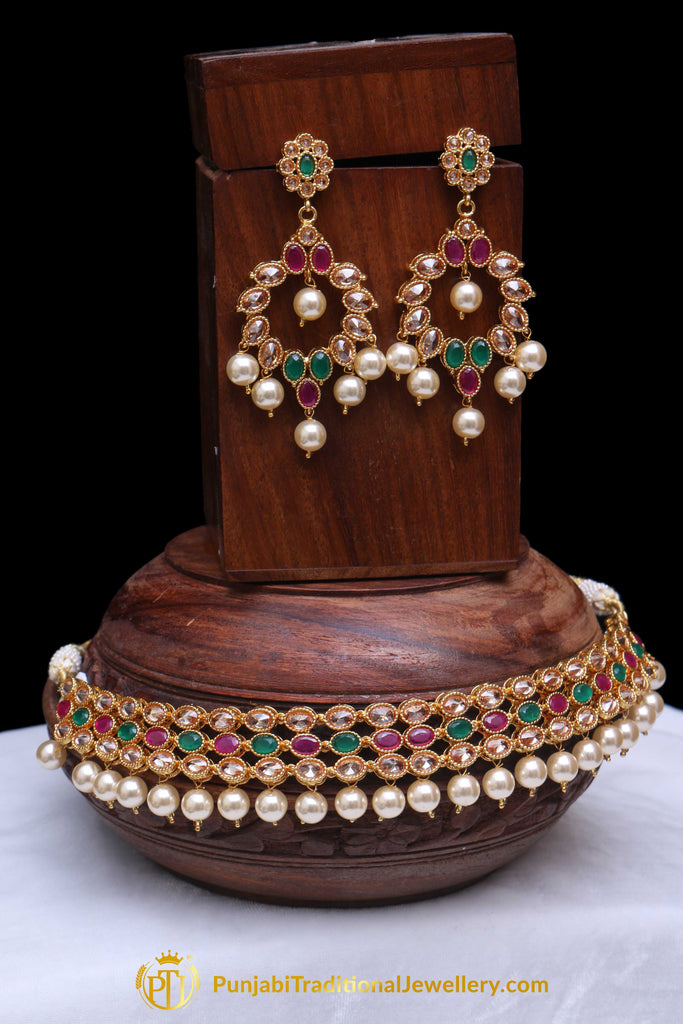 Rubby Panna Polki Pearl Necklace Set By Punjabi Traditional Jewellery