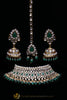 Green Pearl Kundan Choker Necklace Set By Punjabi Traditional Jewellery