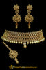 Champagne Stone Pearl Choker Necklace Set By Punjabi Taditional Jewellery