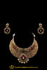 Green Red Antique Gold Polki Choker Necklace Set By Punjabi Traditional Jewellery