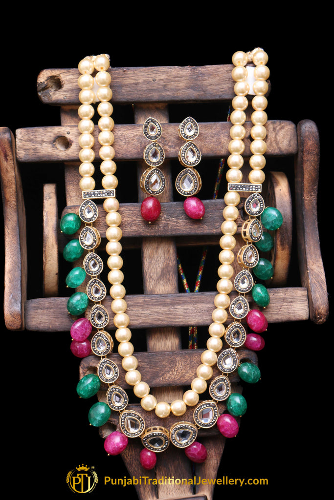Green Red Polki Pearl Necklace Set By Punjabi Traditional Jewellery