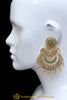 Green Champagne Stone Polki Earrings By Punjabi Traditional Jewellery