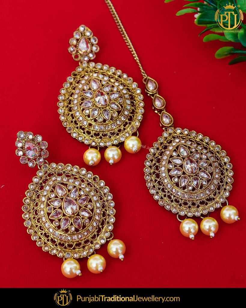 Antique Gold Finished Chamapgne Stone Pearl Earring Tikka Set | Punjabi Traditional Jewellery Exclusive
