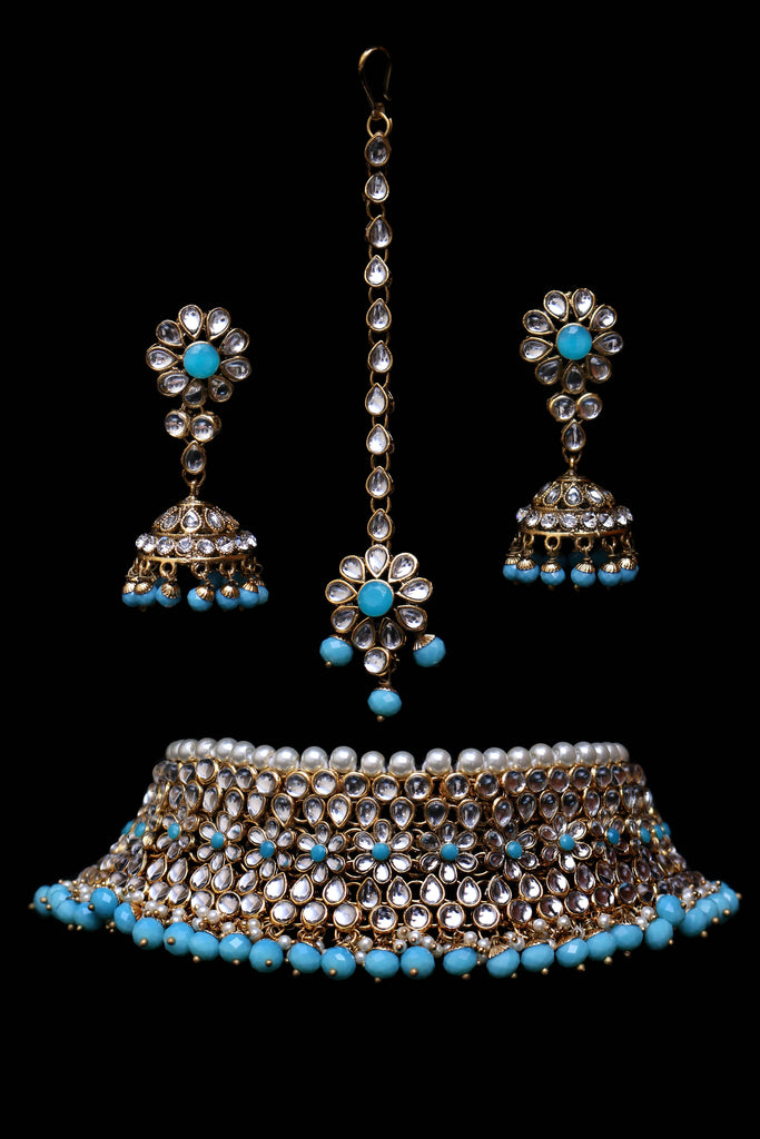 Firozi Kundan Choker Necklace Set By Punjabi Traditional Jewellery