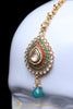 Green Maroon Polki Earring Tikka Set By Punjabi Traditional Jewellery