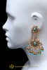 Firozi Champagne Stone Earrings By Punjabi Traditional Jewellery