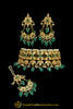 Emerald Meena Kundan Pearl Choker Necklace Set By Punjabi Traditional Jewellery