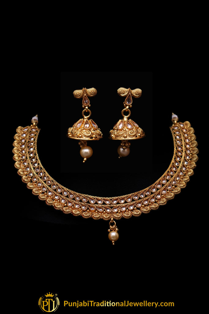 Muntazir Polki  Necklace Set By Punjabi Traditional Jewellery