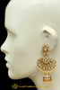 Golden Kundan Pearl Earrings By Punjabi Traditional Jewellery