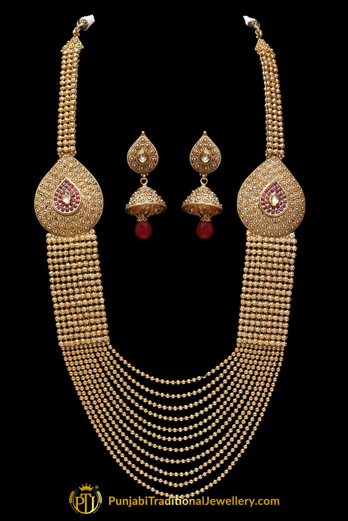 Red Jodha Antique Gold long Necklace Set By Punjabi Traditional Jewellery