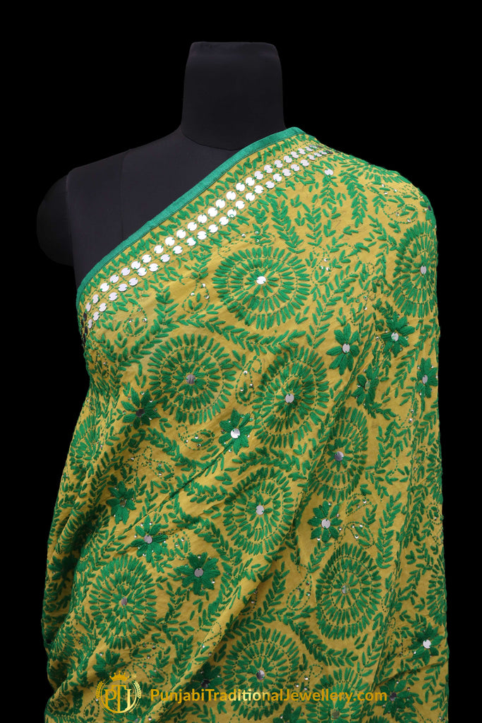 Green Color Pure Phulkari Dupatta By Punjabi Traditional Jewellery