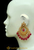 Red Polki Earrings By Punjabi Traditional Jewellery
