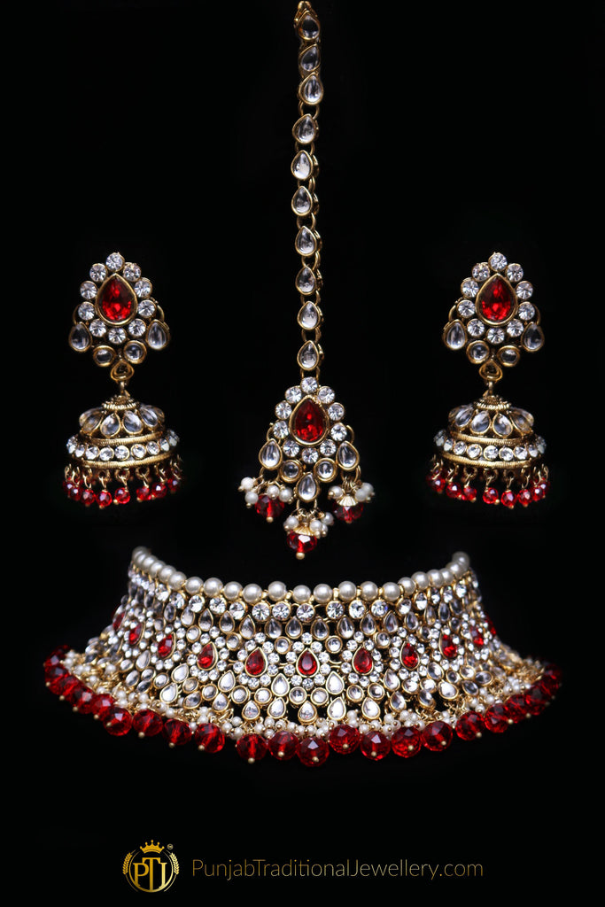 Red White Pearl Kundan Choker Necklace Set By Punjabi Traditional Jewellery