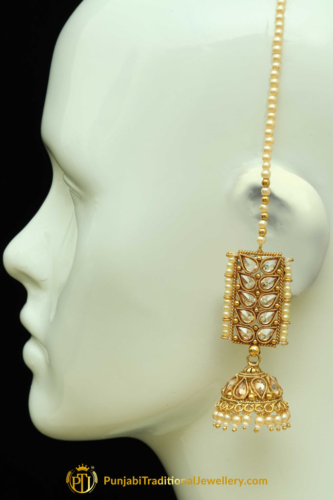 Polki Sahare Jhumki Earrings By Punjabi Traditional Jewellery