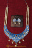 Blue Kundan Pearl Choker Necklace Set By Punjabi Traditional Jewellery