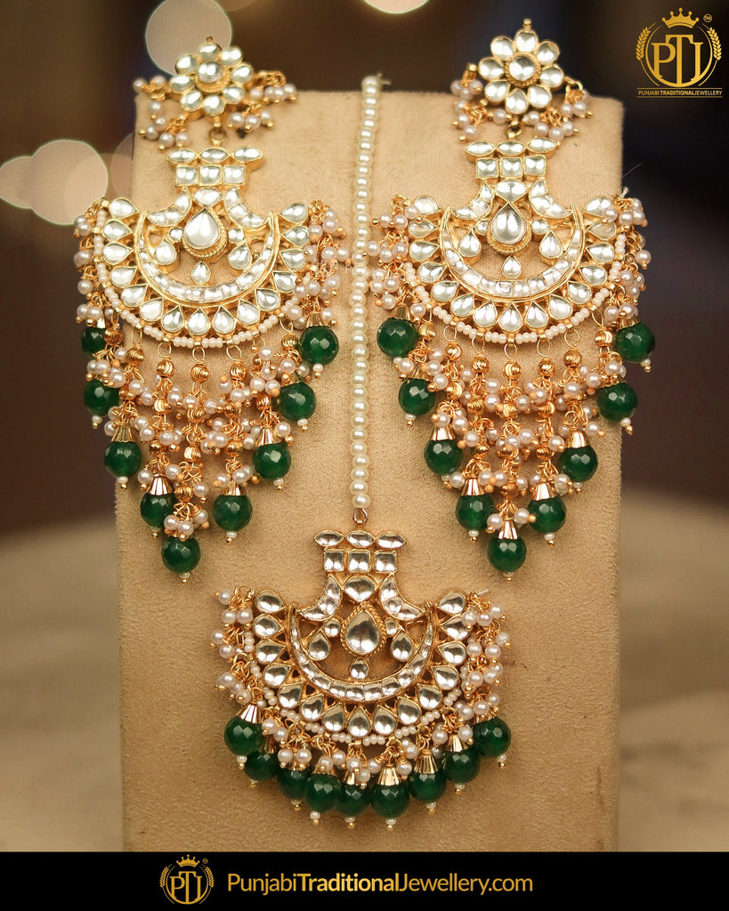 Gold Finished Emerald Kundan Pearl Earring Tikka Set | Punjabi Traditional Jewellery Exclusive