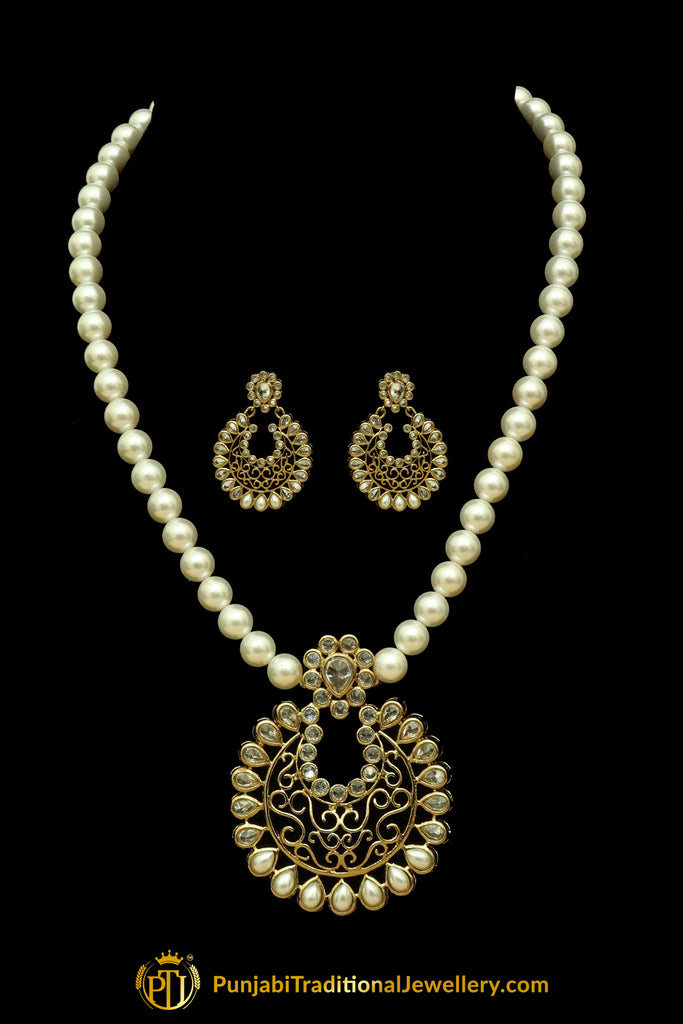 Polki Pearl Mala Necklace Set By Punjabi Traditional Jewellery