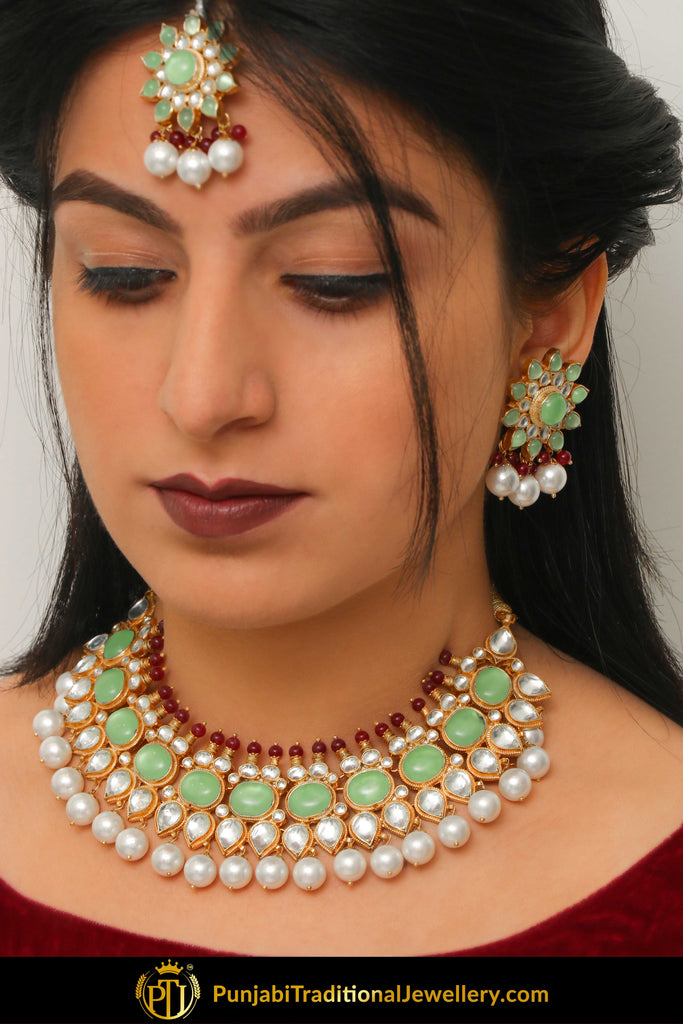 Adeena New Jade Rubby Pearl Kundan Necklace, Earrings & Tikka Set | Punjabi Traditional Jewellery Exclusive