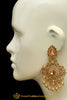 Gold Plated & Champagne Stone Earrings By Punjabi Traditional Jewellery