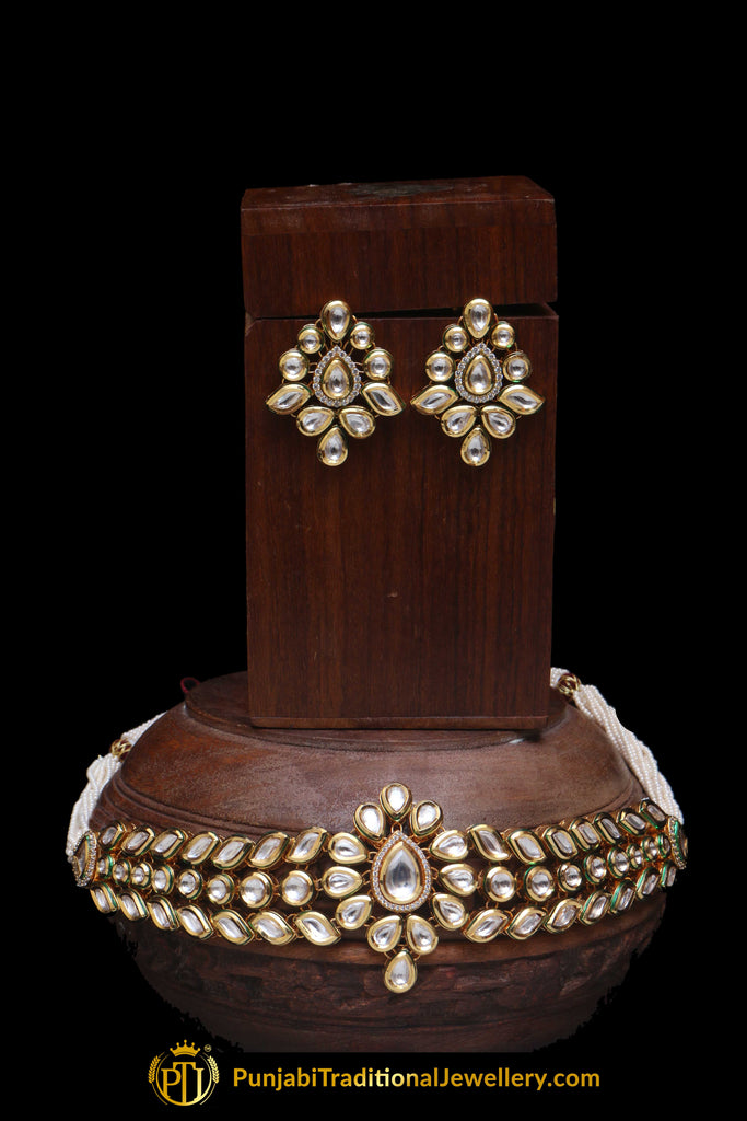 Kundan Choker Necklace Set By Punjabi Traditional Jewellery