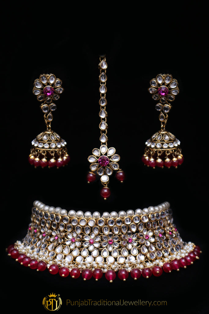 Maroon Pearl Kundan Choker Necklace Set By Punjabi Traditional Jewellery