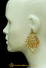Gold Finished Navratan Jadau Earrings By Punjabi Traditional Jewellery