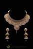 Red Green Antique Gold Polki Choker Necklace Set By Punjabi Taditional Jewellery