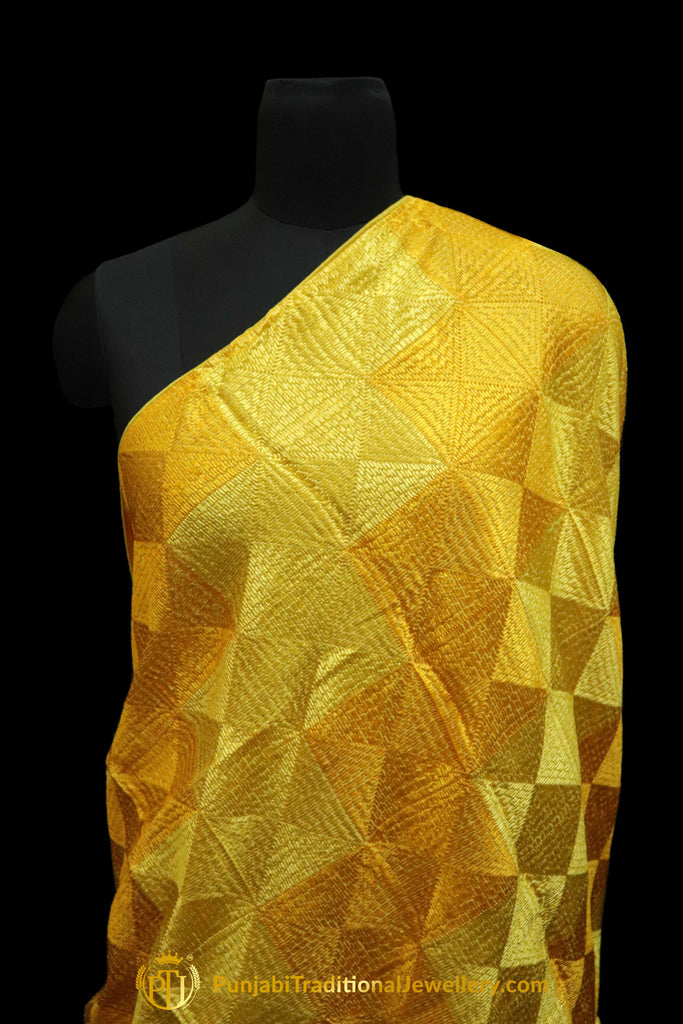 Yellow & Golden Color Pure Phulkari Dupatta By Punjabi Traditional Jewellery