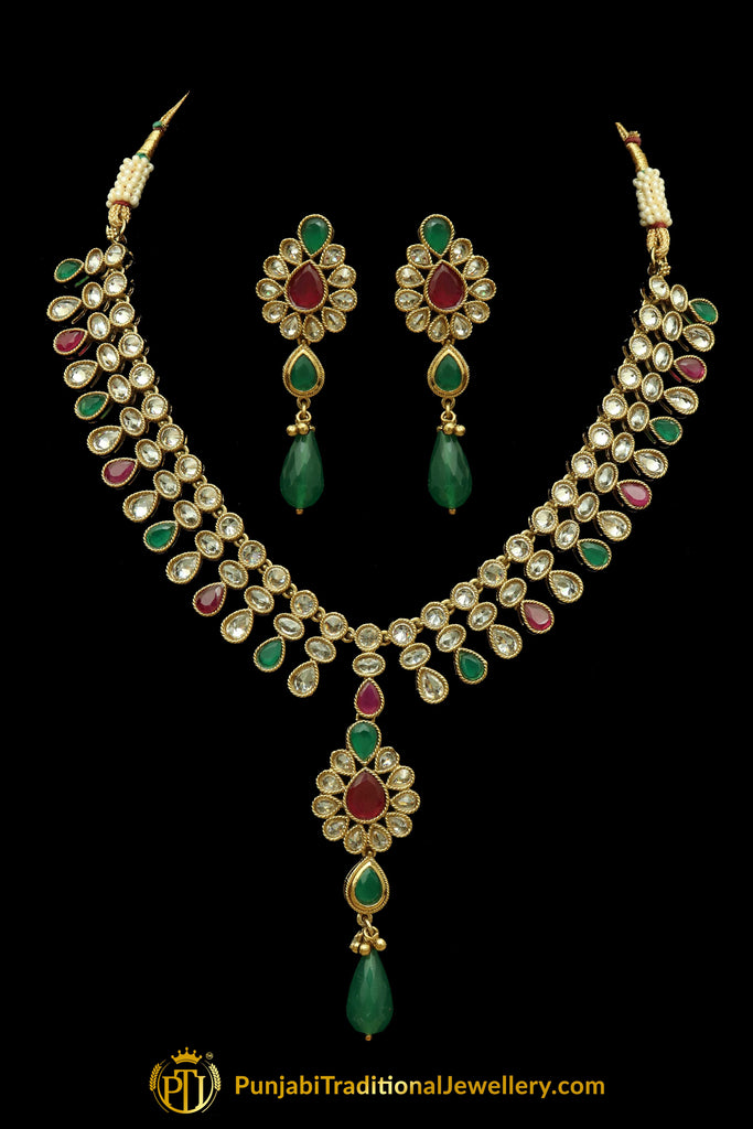 Rubby Panna Polki Necklace Set By Punjabi Traditional Jewellery