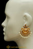 Gold Finished Polki Pearl Earrings By Punjabi Traditional Jewellery