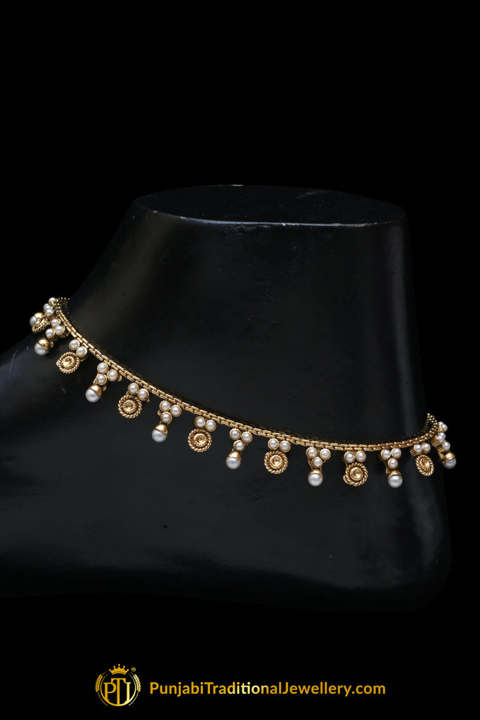 Gold Plated With Pearl Payal By Punjabi Traditional Jewellery