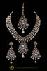 White & Golden Kundan/Jerkan Necklace Set By Punjabi Traditional Jewellery
