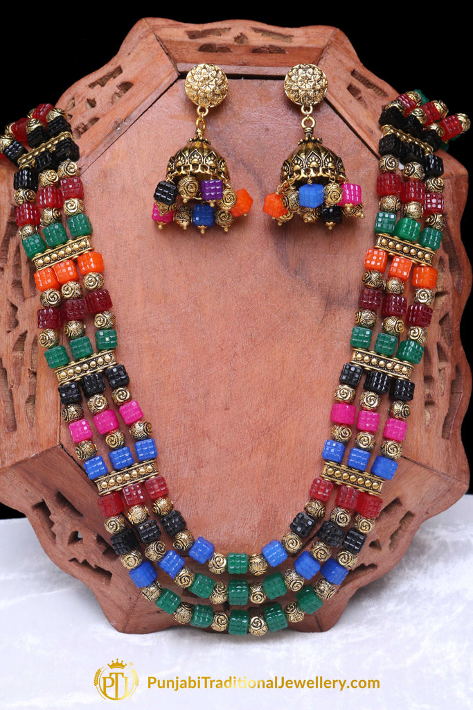 Multi Antique Gold Mala Necklace Set By Punjabi Traditional Jewellery