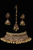 Golden Kundan Pearl Choker Necklace Set By Punjabi Traditional Jewellery