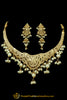 Golden Jadau Necklace Set By Punjabi Traditional Jewellery