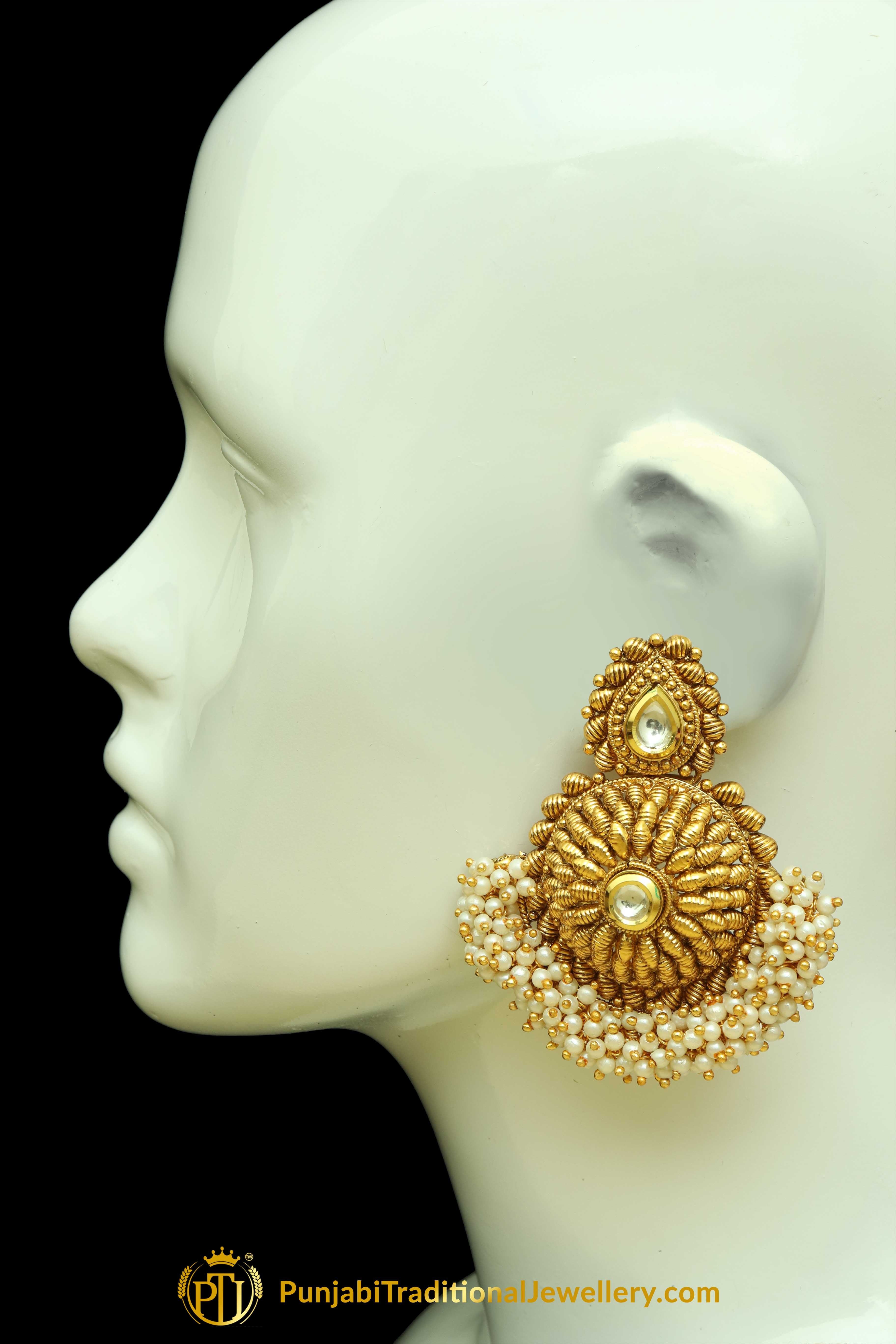 Pearl Antique Gold Earrings By Punjabi Traditional Jewellery ...