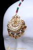 Aamsya Gold Plated Red Green Pippal Patti Kundan Earring Tikka Set By Punjabi Traditional Jewellery