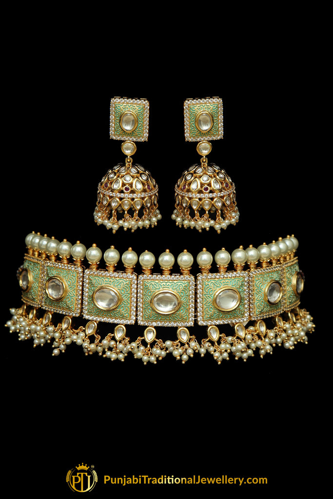 Green Kundan Meena Hand Painted Meena Choker Necklace Set By Punjabi Traditional Jewellery
